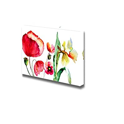 Canvas Prints Wall Art - Watercolor Illustration of Summer Flowers | Modern Wall Decor/Home Art Stretched Gallery Wraps Giclee Print & Wood Framed. Ready to Hang - 12