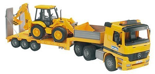 (Bruder Toys MB Actros Low Loader Truck with Jcb 4Cx Backhoe Loader )