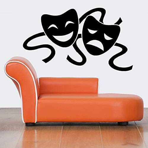 wwttoo Wall Vinyl Sticker Room Decals Mural Design Masks Theater Two Faces 57X98Cm ()
