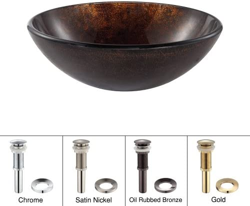 Kraus GV-684-ORB Pluto Glass Vessel Bathroom Sink with PU-MR Oil Rubbed Bronze