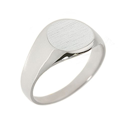 Men's 925 Sterling Silver Engravable Polished Round Top Signet Ring (Size 8)