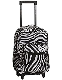 Luggage 17 Inch Rolling Backpack, Zebra, One Size