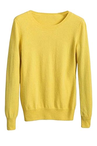 Womens Fashion O Neck Long Sleeve Cable Knit Pullover Sweater Jumper XXXL Yellow by KAKALOT
