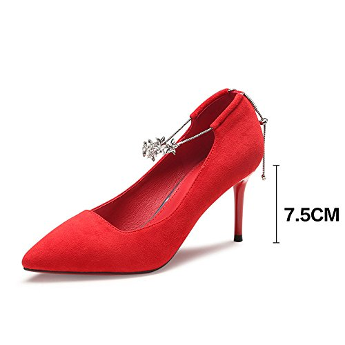 Chaussures UK De 4 37 5 Rouge EU Talons 7 Nightclub Sexy Red Strass Travail Cour Mariage Haute Party 5cm Femme Mode pYg8wxUqCY