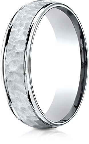 Benchmark 14K White Gold Comfort-Fit 6mm High Polish Edge Hammered Center Design Wedding Band, Size (Center Design Wedding Band)
