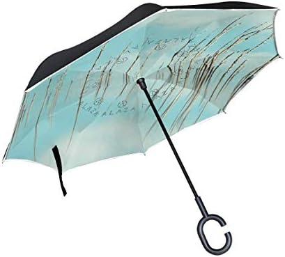 sfdgd Parasol Waterproof Parapluie de Voyage Poignée en Forme de C Sun Block Windproof Water Sky Reflection Calm Grass Atmosphere of Earth