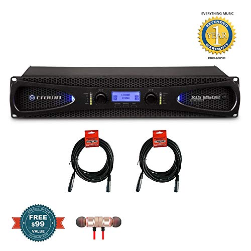 - Crown XLS 2502 2-channel, 775W 4Ω Power Amplifier & 20ft XLR Cables Bundle includes Free Wireless Earbuds - Stereo Bluetooth In-ear and 1 Year Everything Music Extended Warranty