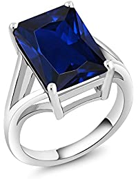 925 Sterling Silver Blue Simulated Sapphire Solitaire Ring 14x10mm Emerald Cut, 10.00 Ctw (Available 5,6,7,8,9)