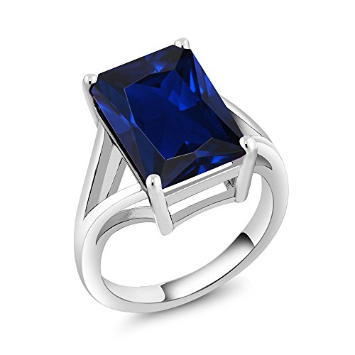 925 Sterling Silver Blue Simulated Sapphire Solitaire Ring (14X10MM Emerald Cut, 10.00 Ctw, Available in size 5, 6, 7, 8, 9) (10mm Solitaire)