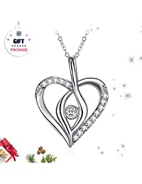 ZHULERY Silver Heart Crystals Necklace, 3A Cubic Zirconia Women Fashion Jewelry, Anniversary Birthday Gifts