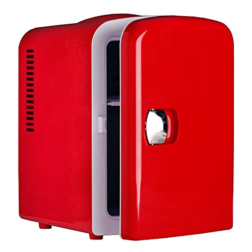 Generic DC 12V Theremoelectric Car Fridge Compact Refrigerator Beverage Cooler AC 110V Office Food Warmer,Red,4L