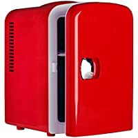 Generic DC 12V Theremoelectric Car Fridge Compact Refrigerator Beverage Cooler AC 110V Office Food Warmer,Red,4L