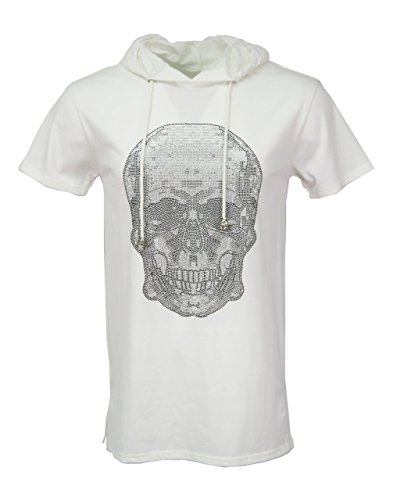 - Henry & William Men's Hoody T Shirt with Skull Rhinestone S White/Silver