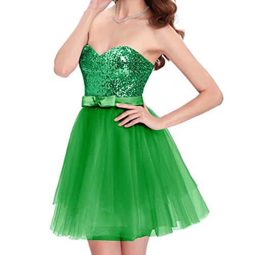 Green Strapless Short Gowns Sequin Homecoming Dresses Party Top Women's AiniDress with Prom Tulle Skirts ztwqpOp