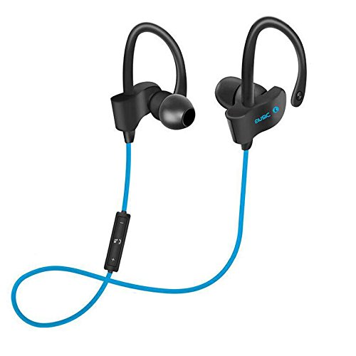 56S - Bluetooth Headphones Runner Headset Sport Earphones with Mic and Lifetime Sweatproof Guarantee - Wireless Earbuds for Running, Blackout (Blue)