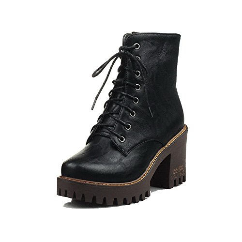 Leather Black Zipper Heels Toe Round Soft Solid Boots Closed Women's High WeenFashion R8Oq4q