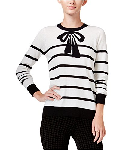 - Maison Jules Womens Bow-Printed Ribbed Trim Crewneck Sweater Black L