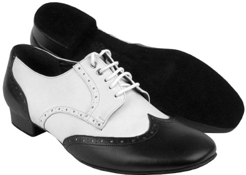 Bundle Lightweight Very Fine Mens Ballroom Salsa Latin Dance Shoes PP301 Leather + Shoe Brush + Pouch Black & White 7.5 M US 1 Inch by Very Fine Dance Shoes
