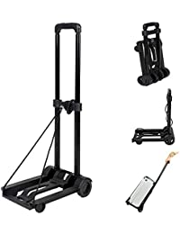 150 lbs Heavy Duty Folding Luggage Cart, 4 Wheels Solid Construction Roll Luggage Carrier/Foldable Utility Cart/Travel Trolley (US STOCK)