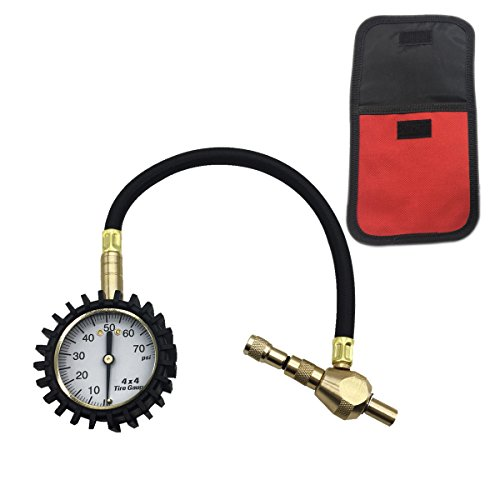 2 in 1 ProfessionalTire Deflator Pressure Gauge 75Psi with Special Chuck for 4X4 Large Offroad Tires