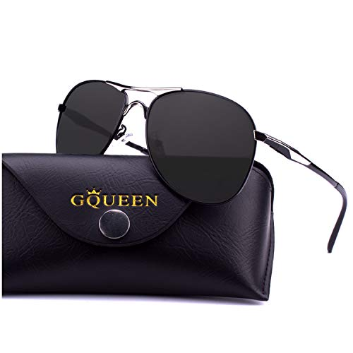 Metal Pilot Sunglasses - GQUEEN Mens Premium Military Style Pilot Polarized Sunglasses UV400 Protection Metal Frame with Spring Hinges GQ82