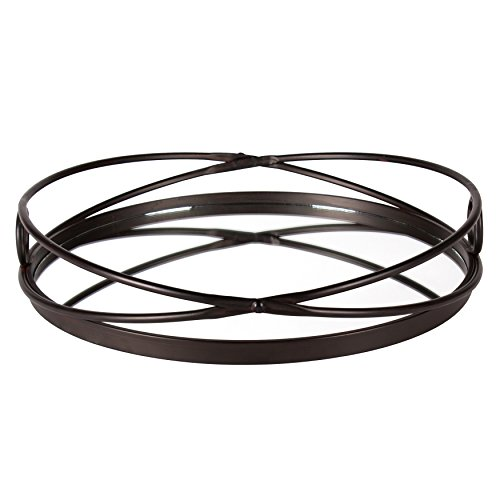 Kate and Laurel Delray Bronze Metal Mirrored Round Decorative Tray (Large Mirrored Tray)