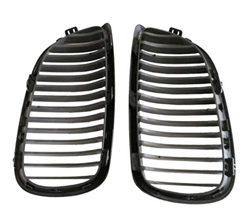 - 2pcs Kidney Grille Compatible for BMW 3-Series 07-10 E92 Coupe E93 Convertible 08-13 M3 2DR (Single Line, Glossy Black)