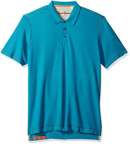 Robert Graham Men's Messenger Short Sleeve Cotton Modal Polo, Turquoise Large from Robert Graham