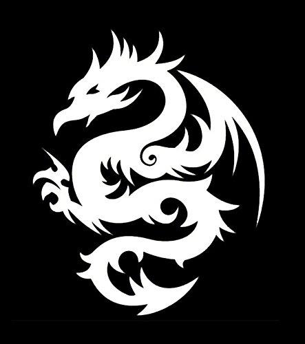 (Makarios LLC Dragon Tribal Cars Trucks Vans Walls Laptop MKR| White |5.5 x 4.5|MKR207)