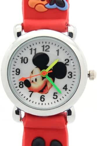 Timernall Original Micky Mouse White Dial Red Kids Cute Watches