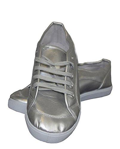 S&LU Super coole und sportliche Damen Halbschuhe, Sneaker in matt silber