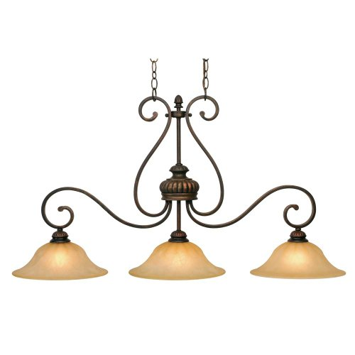 Traditional 3 Light Island (Golden Lighting 711610LC  Island Pendant with Creme Brulee Glass Shades,  Leather Crackle Finish)