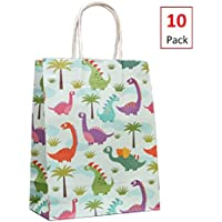 EIXJA 10 Pack Small Dinosaur Party Bags Dinosaur Party Supplies Gift Bags for Boys and Girls Baby Shower Goodie Bags Dinosaur Party Favors, 5.1x8.3
