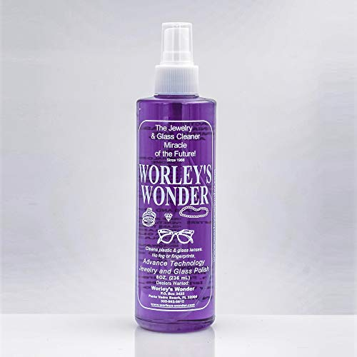 Worley's Wonder Jewelry & Glass Cleaner (8 Ounce Spray Bottle) (Purple Magic Cleaner)