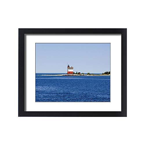 Framed 20x16 Print of USA, Michigan, Macinaw City, Round Island Lighthouse (13968938)