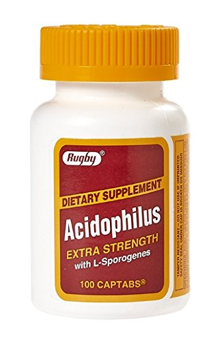 [3 PACK] Rugby® Acidophilus Extra Strength with L-Sporogenes (100 Captabs)