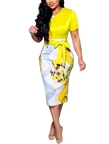 - Women' Short Sleeve Bodycon Dress -Cute Bowknot Floral Pencil Dress X-Large Yellow