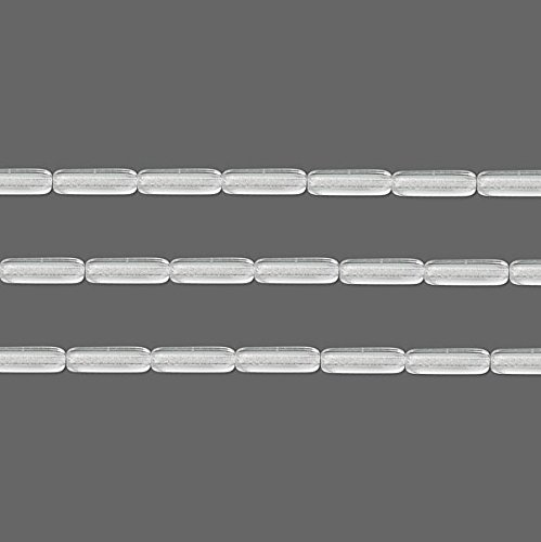 Czech Tube Pressed Glass Beads. Preciosa Clear 14x4.5mm 16 Inch ()