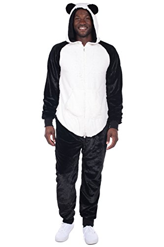 Men's Panda Halloween Costume - Panda Jumpsuit: Medium