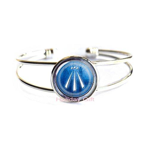 Holiday gift Awen Symbol glass Women Bangle Druid protection amulet flowing spirit poem bard Bracelet Bangle for men jewelryH081 (S1)
