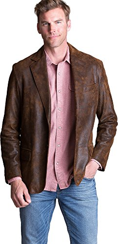 Overland Sheepskin Co Canyon 2-Button Distressed Lambskin Leather - Lambskin Leather Blazer Button