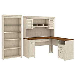 Bush Furniture Fairview L Shaped Desk with Hutch and 5 Shelf Bookcase