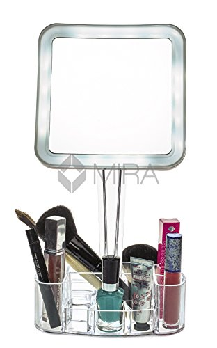 Vanity Mirrors With Lights Free Standing : daisi Magnifying Lighted Makeup Mirror with Cosmetic Organizer Base 7X Magnification, LED ...