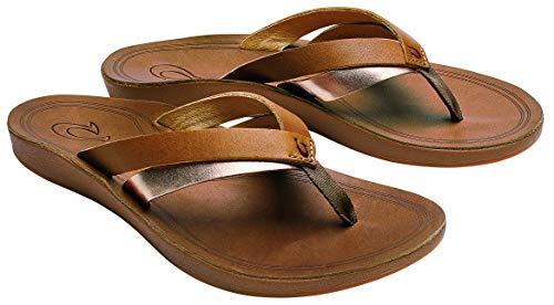 OLUKAI Women's Kaekae Sandals, Sahara/Bubbly, 8 M US