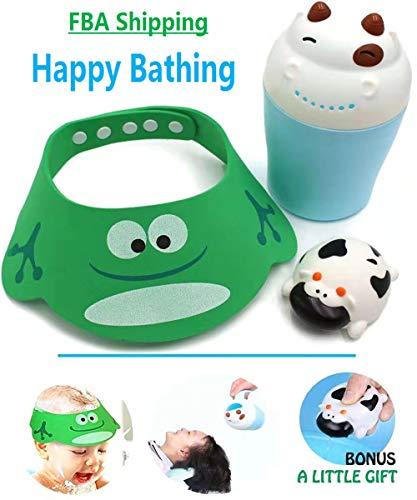 (Lovely Shampoo Shower Bathing Protection Bath Cap Soft Adjustable Visor Cartoon (Frog) Hat for Baby, Kids with Cow Bath Tear-Free Waterfall Rainser Bath)