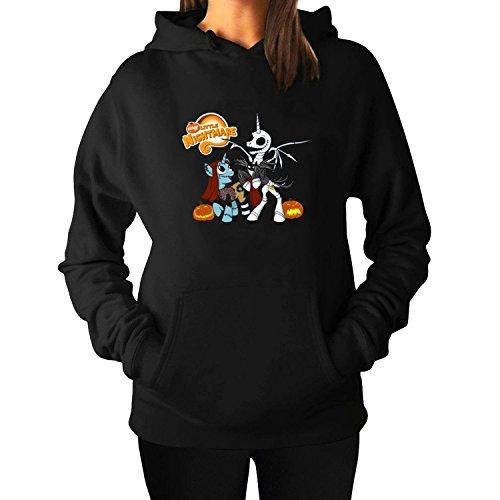 (Woman's Halloween Little NightmarePullover Hoodie Sweatshirts S Black cool)