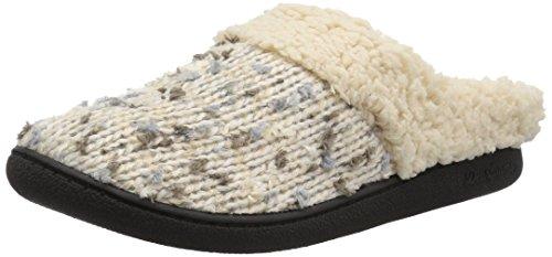 Dearfoams Women's Tweed Knit Clog Slipper, Oatmeal Heather