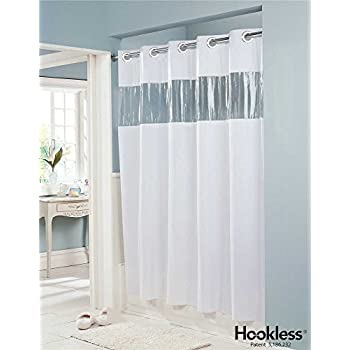 Amazon.com: Hookless Pin Dot 71 X 74 Vinyl Shower Curtain HBH04PDT05 ...