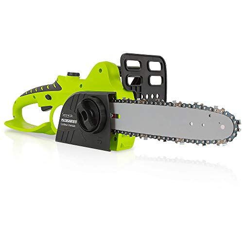 18V Electric Cordless Chainsaw - Rechargeable High Power Handheld Tree Pruner Trimmer Electrical Saw w/ 12 Inch Alloy Steel Cutting Blade, Oil Tank, No Tool Chain Adjuster - SereneLife PSLCHSAW1815