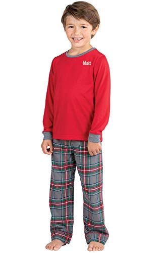 PajamaGram Personalized Boys Flannel Pajamas Plaid Set, Solid Top, Gray, 10